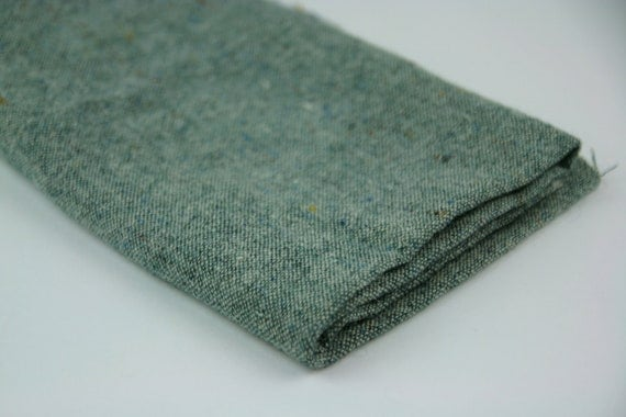 Vintage Fabric Wool Teal Green Remnant