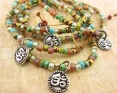 Om Bracelet, Beaded Cord bracelet, Cotton cord, Stackable, Yoga, earthy jewelry, Earth tone, Hippy Hippie, Vegan