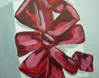 Red Ribbon Present- Original Painting by Jamies Art 8x10