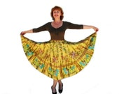 Vintage Full circle skirt Egyptian Symbol print African Inspired skirt Medium