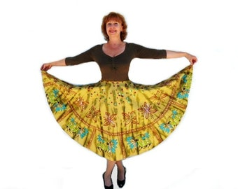 Mustard burgundy graphic print sequined full sweep circle skirt Egyptian Symbol Medium