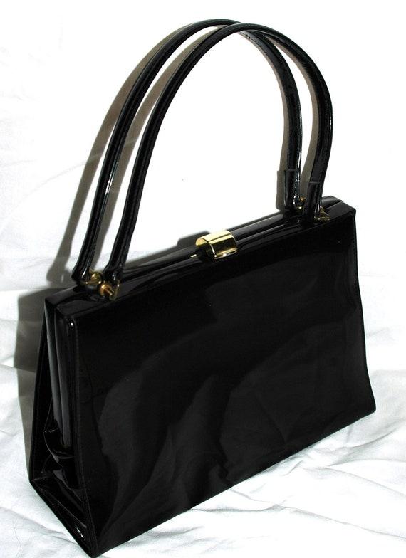 Vintage early 60's  Black Patent Kelly Bag Handbag