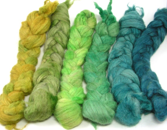 spinning Fiber - Baby Alpaca mini braids - Blue Green Algae
