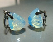 Earrings: Silver Art Deco Reverse Carved Moonstone Crystal Japanese Pagoda