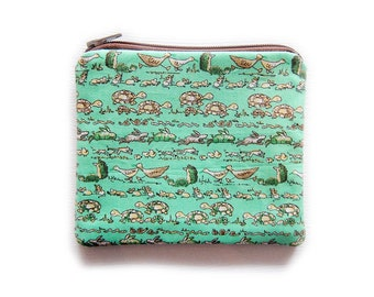 Zipper Pouch - Animals on Mint Green - Available in Small / Large / Long