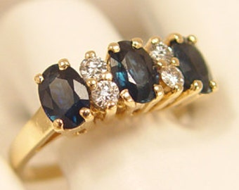 Wickedly Hot Sapphire & Diamond 14Kt Gold Ring - Estate