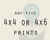 Photography - Any Five 4x4 or 4x6 metallic prints