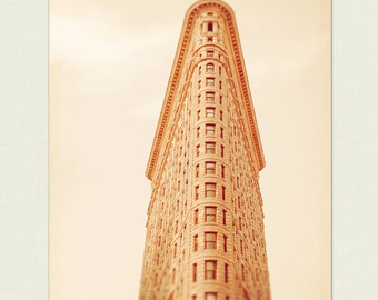 Flatiron Building, New York City, Chelsea Wall Art, NYC Photograph - beige, light brown, architecture decor, urban home, Minimalist Photo