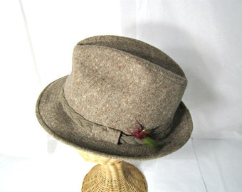 Vintage Mens Tweed Fedora With Ornamental Feather Detail