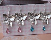 Orchid Earrings with blue or pink crystals Bridesmaids, Flower girl Silver Crystal Flower Earrings