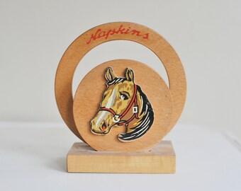 Vintage Wooden Painted Horse Napkin Holder, Wooden Napkin Holder, Wooden Horse Letter Bill Holder, Retro Kitchen, Rodeo Decor, 1950s Kitchen