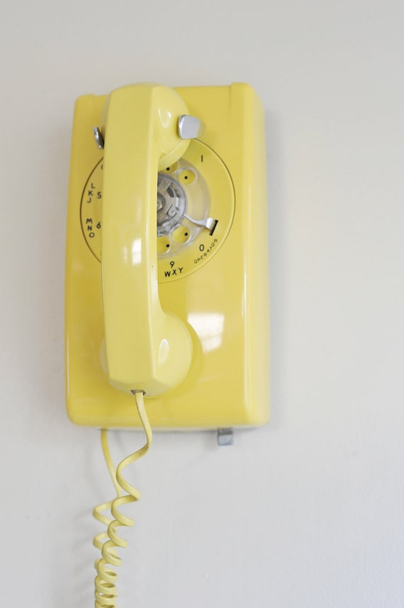 SALE Vintage Mustard Yellow Rotary Wall Mount Telephone
