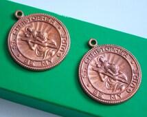 2 Vintage Saint Christopher Pendants with Antiqued Copper colouring