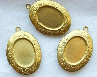 3 Vintage Brass Art Nouveau Lockets