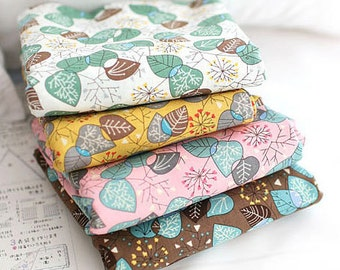 Set of 4, Fat Quarters, Leaves on cotton, U3336