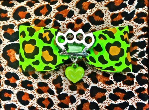 Silver Brass Knuckles Heart Wicked Leopard Hair Bow - Zombie Green - Psychobilly - Punk