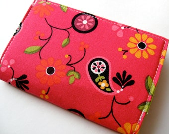 Business Card Case, Credit Card Cover -Tossed Paisley Red - READY TO SHIP
