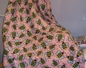 Bumble Bees on Silky Fleece/Solid Pink Back by SewSandee
