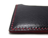 Black Leather Card Holder, Red edges and Thread, Textured Leather, Leather Wallet