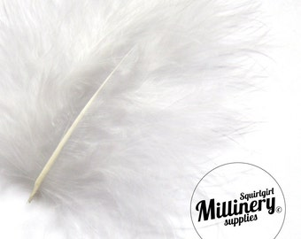 20 Light Grey Fluffy Marabou Feathers for Millinery Hat Trimming & Crafts