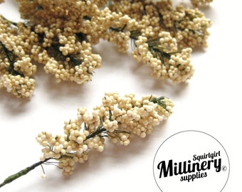 Cream Flower Bud Wired Picks for Millinery, Corsages & Boutineers Bunch of 12