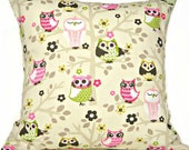 Owls Pillow Cover Hot Pink Lime Green Brown Beige Mustard Magenta Flowers Branches Decorative 18x18