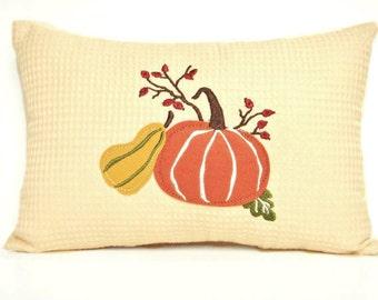 Fall Accent Pillow Autumn Pumpkin Gourd Mustard Green Burgundy Beige Decorative Repurposed