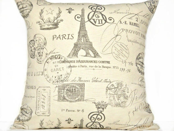 WEEKLY SPECIAL 2 for 22.00 Pillow Covers Paris French Country Eiffel Tower Script - Gunmetal Gray Beige - Decorative Pair 18x18