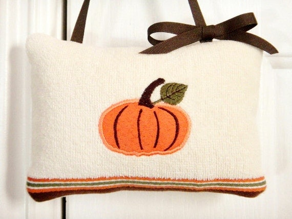 Pumpkin Door Hanger Pillow Halloween Fall Orange Green Brown Cream Decorative Repurposed