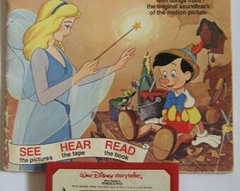 Vintage 1970s Book and Tape-Walt Disney's Pinocchio