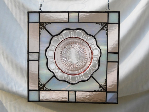 Pink Depression Glass Stained Glass Plate Panel with Colony Old Lace Dish