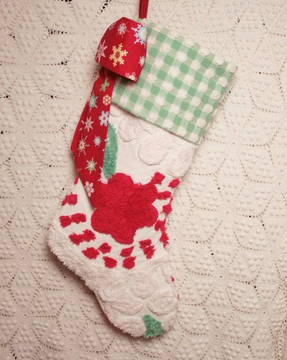 Red Roses and Jadite Gingham Vintage Chenille Heirloom Christmas Stocking with Snowflake Bow