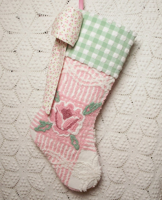 Pink Rose and Gingham Vintage Chenille Stocking with Big Bow