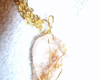 SALE***LAST CHANCE Large Raw Wire Wrapped Citrine in Goldplate and affixed to a Dual Strand of Goldplate Link Chain Necklace