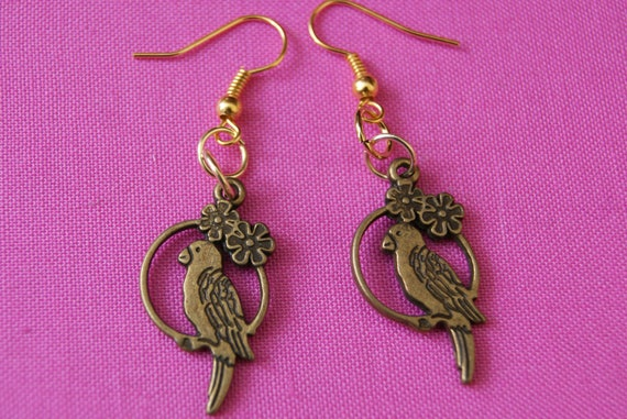 Bronze Parrot Bird Charm Earrings Cool Bird Ancient Cute Vintage