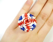 Union Jack Duct Tape Rose Ring - Duck Tape Flower Ring in Red, White, and Blue