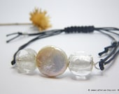 FOR HIM or HER - Stackable Bracelet with Murano beads and freshwater coin pearl - Adjustable - recycle reuse