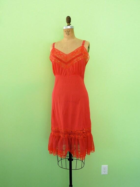 Red Slip Vintage 60s Lace Trim Semi Sheer Slip Dress Large