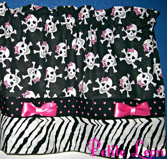 SALE PUNK Gothic Skull Polka Dot Zebra Animal Print Pink Satin Bows 41X16 ROCKABILLY Window Valance Curtain