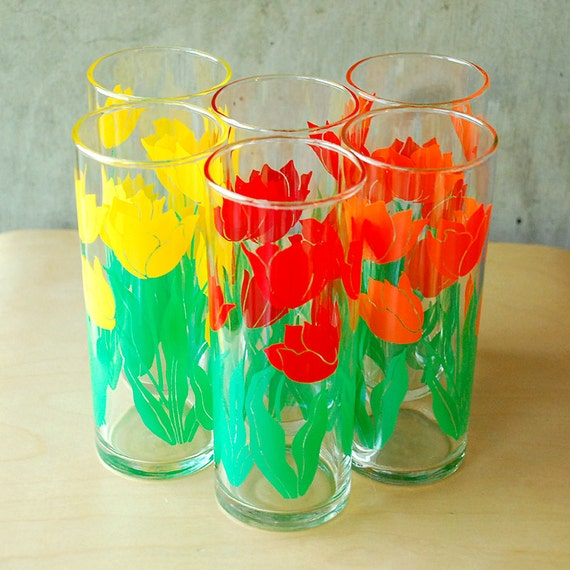 Vintage Tulip Glasses - Red, Yellow, Orange Flowers Floral Highball Tumblers