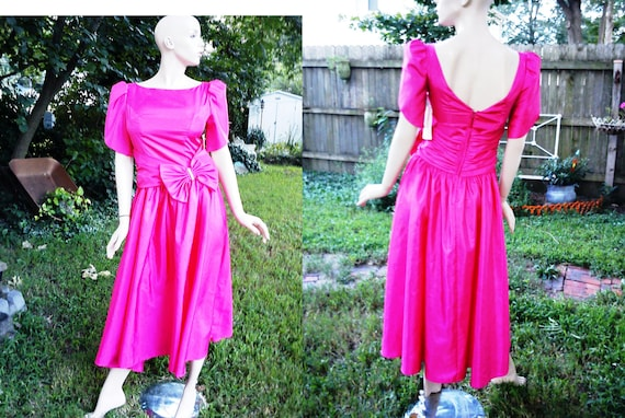 80s Bridesmaid Dress in Fuschia by JCP The Bridal Collection