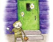 Halloween Cards - Mischievous Mummy Trick or Treater - Set of 5 greeting cards