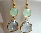 Cool Mint Green and Gray Glass Dangle Earrings. Color Block Earrings. Bridesmaid Earrings. Wedding Earrings.