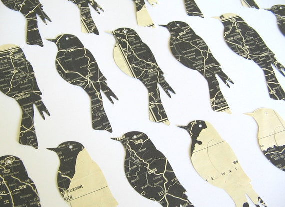 Limited Edition - Vintage Map Die Cuts - Black and White Birds
