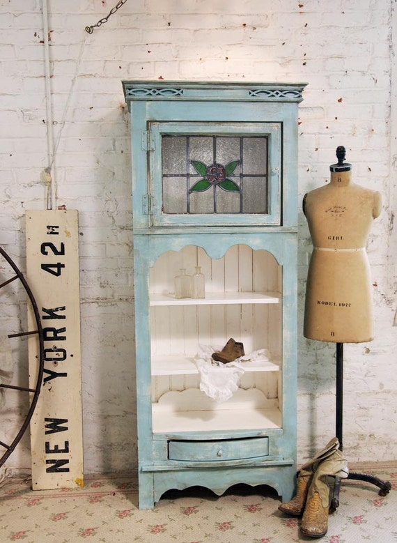 Painted Cottage Chic Shabby Aqua Hand Made French Cabinet CC364