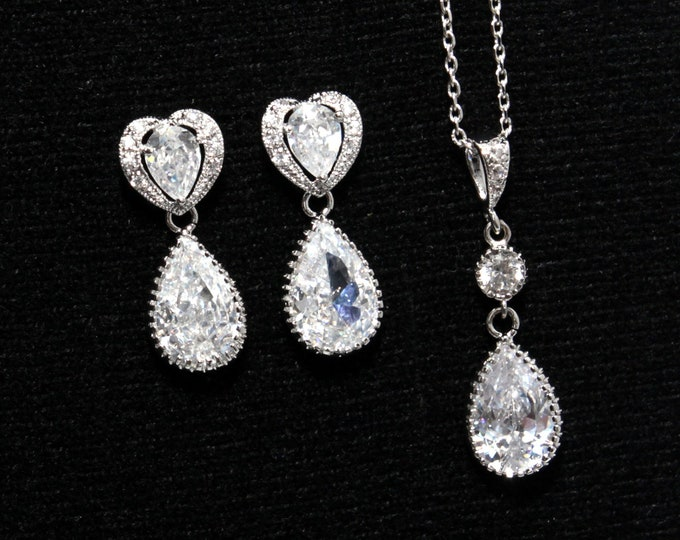 Julienne - Cubic Zirconia Heart Earrings with Teardrop, gifts for her, White Wedding Bridal jewelry Bridesmaids, Silver, Heart Love