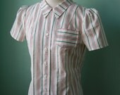 1930s 1940s  stripe  puffed sleeve blouse  top  Custom made for your size s-m  SALE