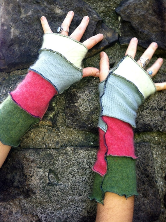 Recycled Cashmere ArmWarmers fingerless gloves