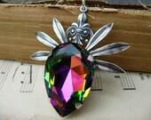 Crystal Necklace - Multi Hued Swarovski Crystal Necklace - Main Attraction N24