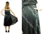 1970s sundress, black sundress, sheer black dress, floral dress, Size M